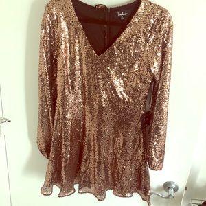 BRAND NEW - Rose Gold Sequin Long Sleeve Dress